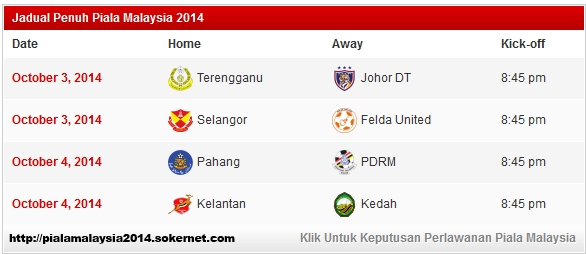 jadual penuh suku akhir piala malaysia 2014 terengganu vs jdt kelantan pahang